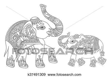Clip Art - indio étnico, elefante, línea, original, dibujo, adultos ...