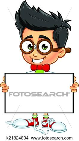 Clipart of Geek Boy - Holding Blank Board k21824804 - Search Clip ...