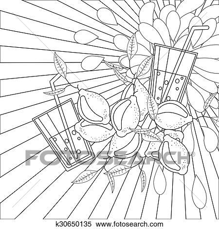 Clipart - libro colorear, página, limones, y, jugo k30650135 ...