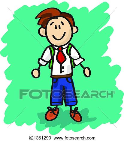 Clipart Mignon Dessin Anime Petit Garcon K21351290 Recherchez