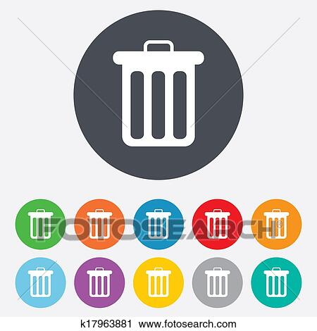 Clipart Of Recycle Bin Sign Icon Bin Symbol K17963881 Search