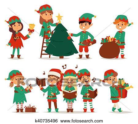 Christmas Pictures For Kids.Santa Claus Kids Cartoon Elf Helpers Clip Art