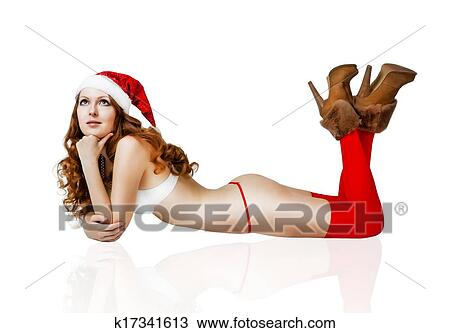 1b3edf4206572 Sexy christmas girl in red santa claus hat and bikini isolated on white  background
