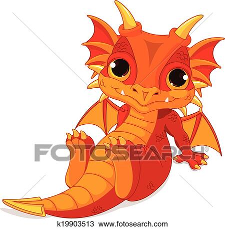 clipart of cute baby dragon k19903513 search clip art