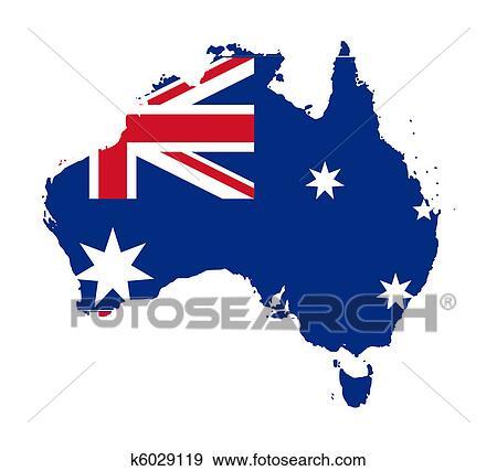 Carte Australie Drapeau.Drapeau Australie Sur Carte Banque D Illustrations