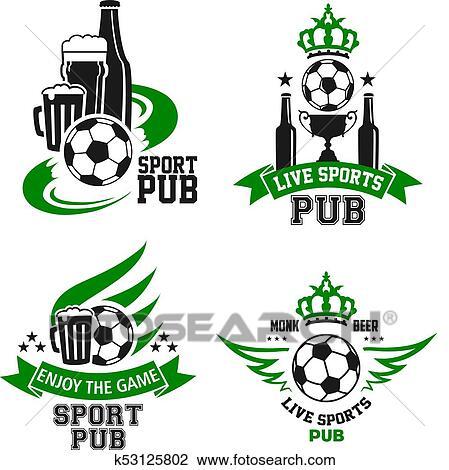 Fussball Ball Und Bier Symbol Fur Sport Bar Design