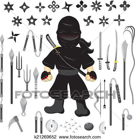 Illustration de caract re ninja et arme dessin anim vecteur clipart k21269652 fotosearch - Dessin anime ninja ...