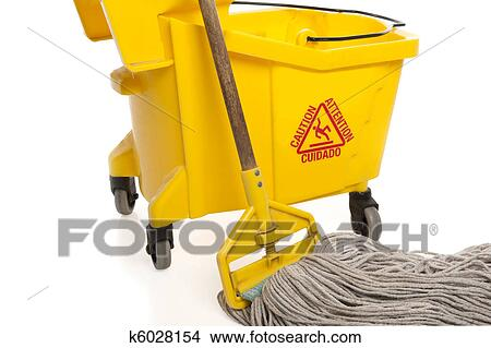Stock Photo Of Industrial Mop And Bucket Close Up K6028154 Search