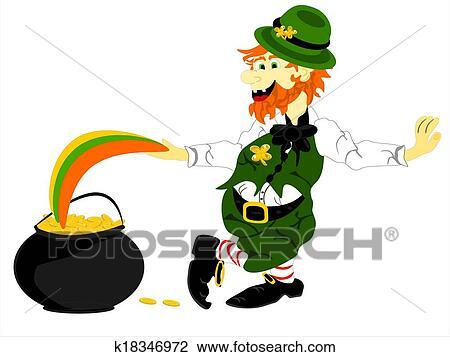 Clipart Of Leprechaun Lean Pot Gold Rainbow K18346972 Search Clip