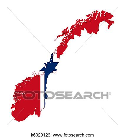 Drawing Of Norway Flag On Country Map K6029123 Search Clipart