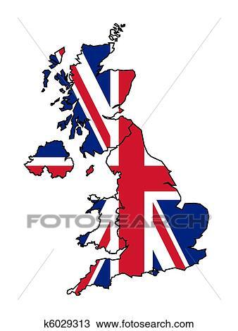 Royaume-uni, carte, à, drapeau Dessin   k6029313   Fotosearch