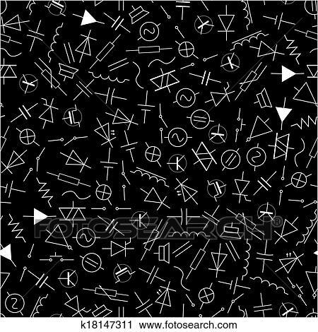 Clipart - schematisch, symbole, in, elektrotechnik, muster, eps10 ...