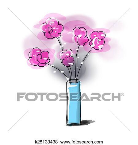 Stock Illustration Of Sketch Flower Vase Illustration K25133438