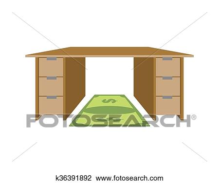 Clipart Of Table And Rug Dollar Mat Under Feet Of Money