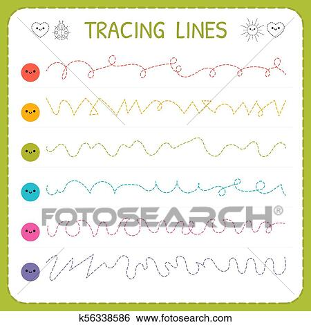 Tracing Lines. Basic Writing. Worksheet For Kids. Working Pages For  Children. Trace The Pattern. Preschool Or Kindergarten Worksheets Clip Art  K56338586 Fotosearch