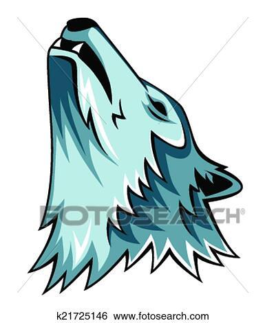 Wolf howling Clip Art | k21725146 | Fotosearch