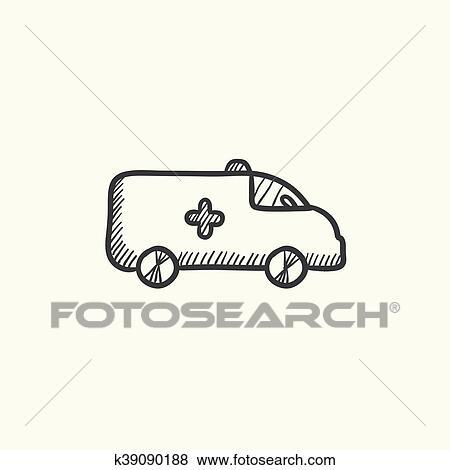 سيارة إسعاف سيارة رسم Icon Clip Art K39090188 Fotosearch