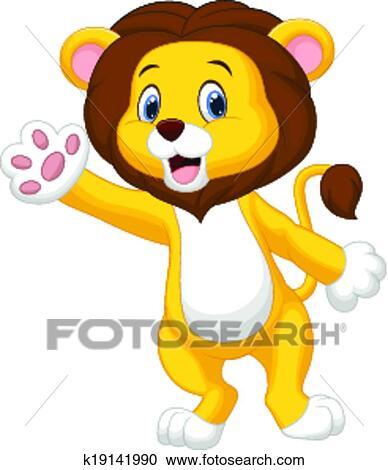 かわいい ライオン 漫画 振ること 手 クリップアート切り張り