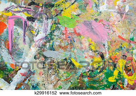 Abstract Watercolor Palette Of Grange Color Mix Color