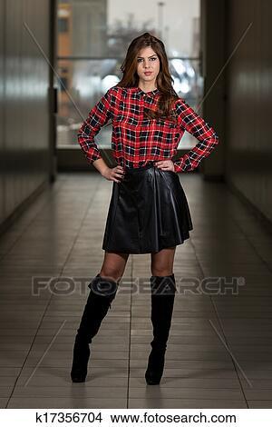 e3b5dc6075 Beautiful Woman Wearing Black Leather Skirt Picture | k17356704 ...
