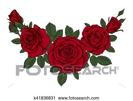 Bello Mazzolino Con Rose Rosse E Leaves Floreale Arrangement