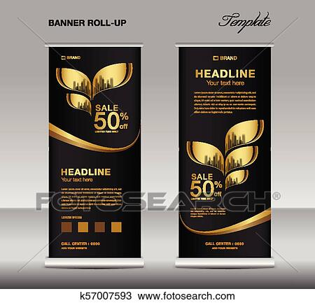 Black And Gold Roll Up Banner Template Vector Advertisement X Banner Poster Pull Up Design Display Layout Business Flyer Web Banner