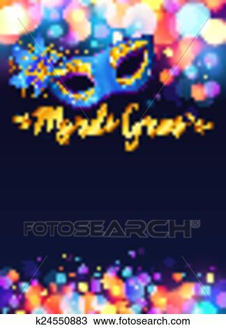 clipart of bright mardi gras poster template with bokeh effect