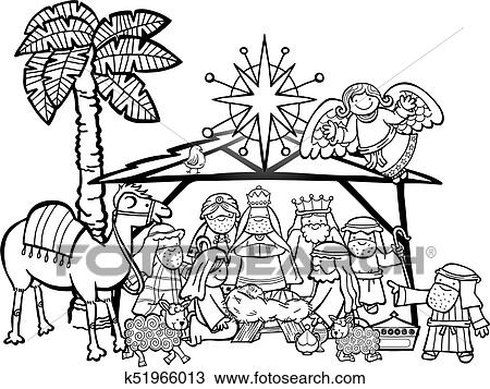 Manger Scene Drawings Black