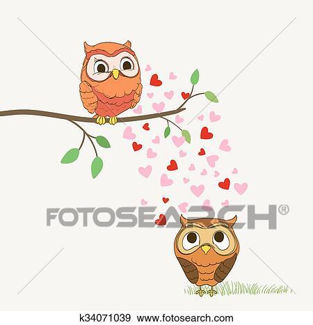 Dessin Amoureux Mignon clipart - mignon, hiboux, amoureux, dessin animé, illustration