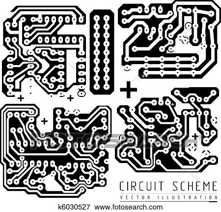Clip Art of Printed Circuit Board k6030527 - Search Clipart ...