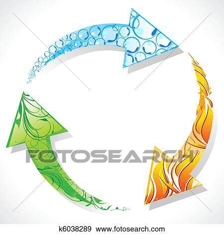 Clip Art Riciclare Simbolo Con Elemento Di Terra K6038289