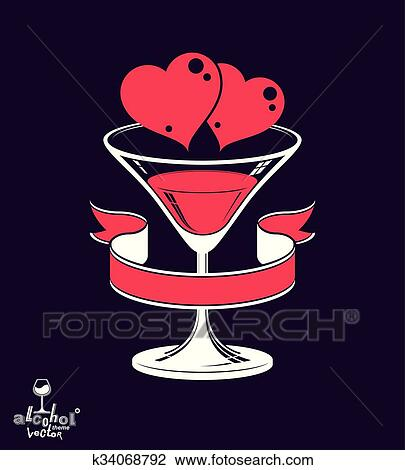Clipart Of Valentines Day Festive Illustration Martini Glass With