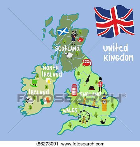 Vector cartoon United Kingdom map national symbols Clipart ...