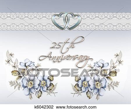 Clip art of 25th wedding anniversary card k6042302 search clipart image and illustration composition for 25th wedding anniversary card or invitation with blue floral design gold hearts and soft blue background m4hsunfo