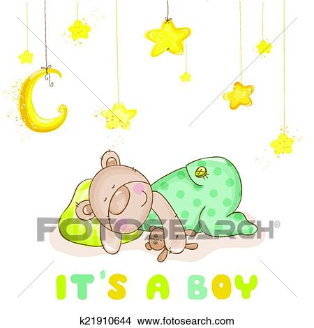 Clipart Of Baby Shower Or Baby Arrival Cards Sleeping Baby Bear