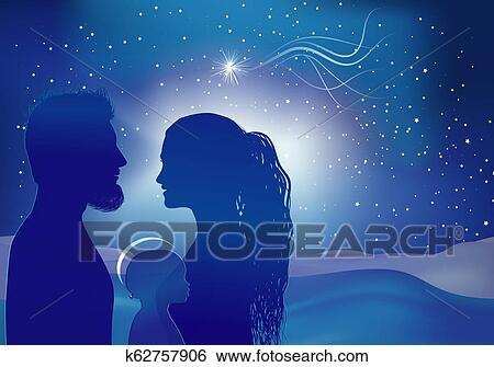 Christmas Nativity Scene.Christmas Nativity Scene Silhouette Profiles With Joseph Mary Baby Jesus And Star Comet On Blue Background Stock Illustration