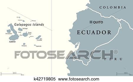 Ecuador And Galapagos Islands Political Map Clipart