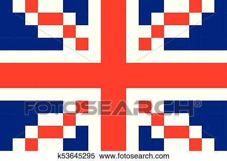 Grande Bretagne Pixel Drapeau Art Dessin Animé Retro Jeu Style Clipart