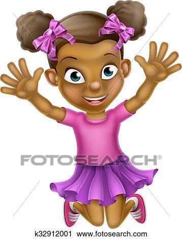 clipart heureux dessin anim fille noire sauter k32912001 recherchez des clip arts des. Black Bedroom Furniture Sets. Home Design Ideas