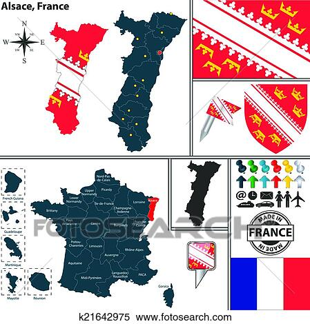 Clipart Of Map Of Alsace France K21642975 Search Clip Art