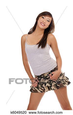 Stock Photography Young Asian American Teen Girl Short Skirt Fotosearch Search Stock Photos