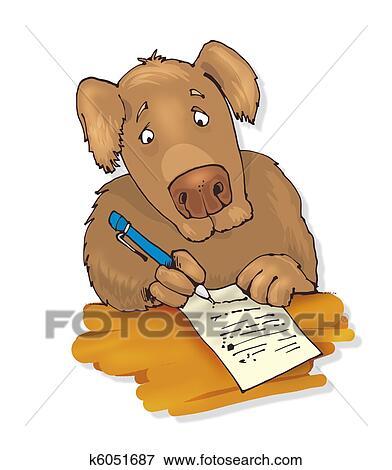 犬 文字を書く イラスト K6051687 Fotosearch