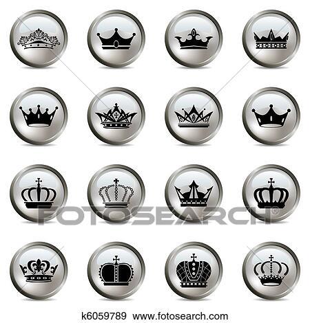 王冠 そして ティアラ 銀 アイコン セット クリップアート