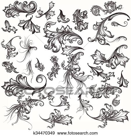 clip art of big collection of filigree hand drawn flourishes in