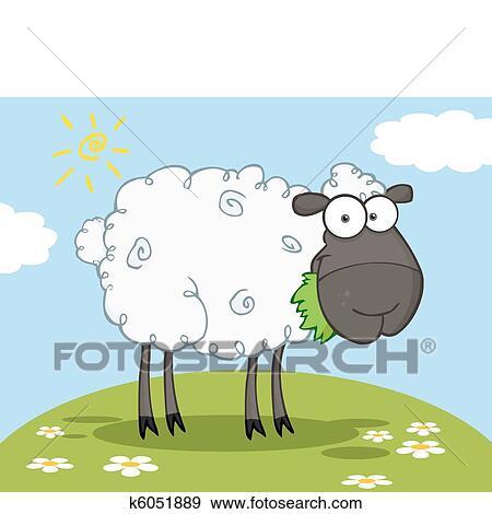 Clip Art Of Black Barnyard Sheep Eating Grass K6051889