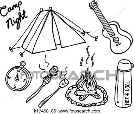 Clip Art Of Camping Doodle K17458186