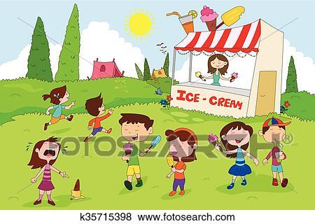 Children Enjoying Summer Camp Activities Clip Art K35715398