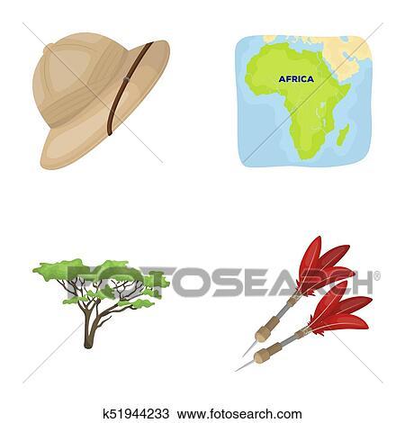 Drawing Of Cork Hat Darts Savannah Tree Territory Map African