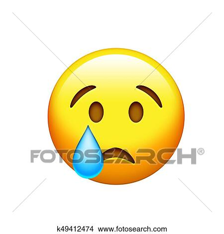 Drawings Of Emoji Yellow Sad Face With Drop Of Blue Crying Tear Icon