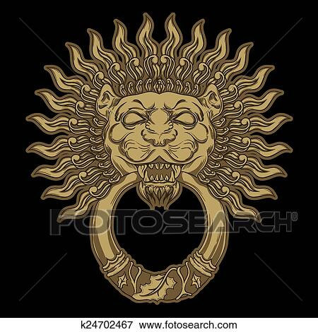 Golden Lion Head On Black Background Door Knocker Hand Drawn V Clip Art